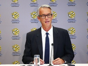 FFA CEO DAVID GALLOP speaks to the media during a press conference at the FFA Offices in Sydney, Australia.