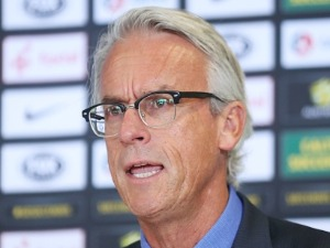 DAVID GALLOP speaks to media during a press conference at FFA Headquarters in Sydney, Australia.