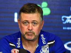 Bulldogs coach DEAN PAY looks on at the post match media conference at the end of during the NRL match between the North Queensland Cowboys and the Canterbury Bulldogs at 1300SMILES Stadium in Townsville, Australia.