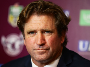 Bulldogs coach DES HASLER speaks to the media after the NRL match between the Manly Warringah Sea Eagles and the Canterbury Bulldogs at Lottoland in Sydney, Australia.