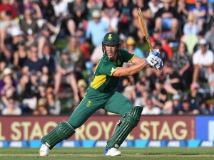 DWAINE PRETORIUS of South Africa bats during game two of the One Day International series between New Zealand and South Africa at Hagley Oval in Christchurch, New Zealand.
