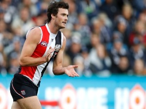 DYLAN ROBERTON of the Saints celebrates a goal during the 2018 AFL match between the Geelong Cats and the St Kilda Saints at GMHBA Stadium in Geelong, Australia.
