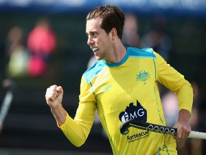 DYLAN WOTHERSPOON of Australia celebrates scoring his sides first goal during match between Australia and Japan on day five of the FIH Hockey World League - Men's Semi Finals in Johannesburg, South Africa.