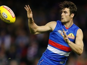 EASTON WOOD of the Bulldogs in action during the 2017 AFL match between the Western Bulldogs and the Melbourne Demons at Etihad Stadium in Melbourne, Australia.