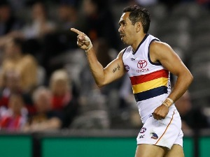 EDDIE BETTS of the Crows celebrates a goal during the 2018 AFL match between the St Kilda Saints and the Adelaide Crows at Etihad Stadium in Melbourne, Australia.