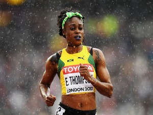 ELAINE THOMPSON of Jamaica competes in the Women's 100 metres heats during the 16th IAAF World Athletics Championships London 2017 at The London Stadium in London, United Kingdom