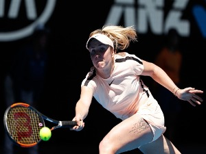 ELINA SVITOLINA of Ukraine plays a forehand against Katerina Siniakova of the Czech Republic of the 2018 Australian Open at Melbourne Park in Australia.