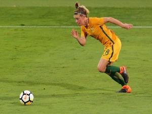 ELISE KELLOND-KNIGHT of the Matildas runs with the ball during the International Friendly Match between the Australian Matildas and Thailand at NIB Stadium in Perth, Australia.