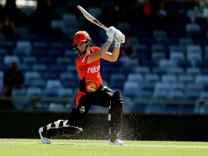 ELYSE VILLANIi of the Scorchers bats during the Women's Big Bash League match between the Perth Scorchers and the Hobart Hurricanes at WACA in Perth, Australia.