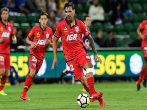 ERSAN GULUM of Adelaide controls the ball during the A-League match between the Perth Glory and Adelaide United at nib Stadium in Perth, Australia.