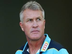 Titans coach GARTH BRENNAN looks on before the NRL match between the Gold Coast Titans and the Canberra Raiders at Cbus Super Stadium in Gold Coast, Australia.