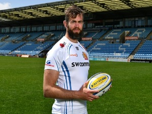 GEOFF PARLING of Exeter Chiefs poses during the media day ahead of the Aviva Premiership Final against Wasps at Sandy Park in Exeter, England.