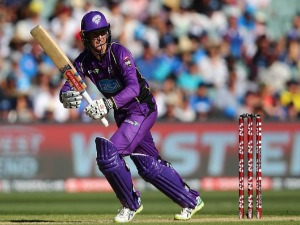 GEORGE BAILEY of the Hurricanes bats during the Big Bash League Final match between the Adelaide Strikers and the Hobart Hurricanes at Adelaide Oval in Adelaide, Australia.