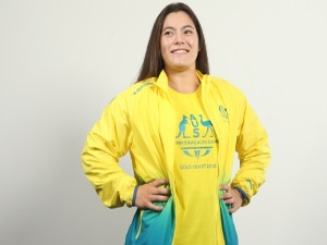 Gymnast athlete GEORGIA GODWIN poses during the Australian Commonwealth Games Team Uniform Launch at The Star in Gold Coast, Australia.