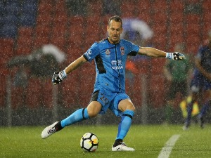 GLEN MOSS of the Jets (GK) kicks out from goal during the A-League match between the Newcastle Jets and Melbourne City at McDonald Jones Stadium in Newcastle, Australia.