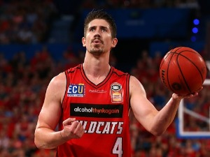 GREG HIRE of the Wildcats prepares to shoot a free throw during the NBL match between the Perth Wildcats and the New Zealand Breakers at Perth Arena in Perth, Australia.