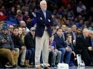 Head coach GREGG POPOVICH of the San Antonio Spurs follows the game against the Philadelphia 76ers in the first half at Wells Fargo Center in Philadelphia, Pennsylvania.