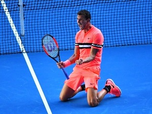 GRIGOR DIMITROV of Bulgaria celebrates winning match point against Andrey Rublev of Russia of the 2018 Australian Open at Melbourne Park in Australia.