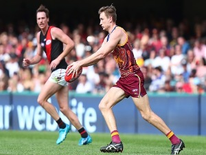 HARRIS ANDREWS of the Lions kicks during the AFL match between the Brisbane Lions and the Essendon Bombers at The Gabba in Brisbane, Australia.