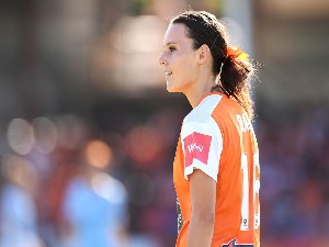 HAYLEY RASO of the Roar looks on during the W-League Semi Final match between the Brisbane Roar and Melbourne City at Perry Park in Brisbane, Australia.