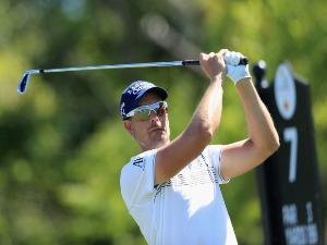 HENRIK STENSON of Sweden plays his shot from the seventh tee during the third round at the Arnold Palmer Invitational Presented By MasterCard at Bay Hill Club and Lodge in Orlando, Florida.