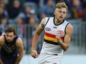 HUGH GREENWOOD of the Crows celebrates a goal during the AFL match between the Fremantle Dockers and the Adelaide Crows at OS in Perth, Australia.