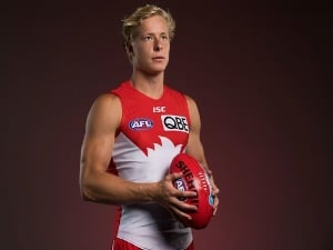 ISAAC HEENEY poses during a Sydney Swans AFL portrait session in Sydney, Australia.