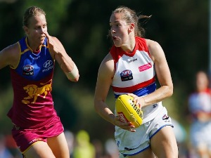 ISABEL HUNTINGTON of the Bulldogs in action during the AFLW match between the Brisbane Lions and the Western Bulldogs at South Pine Sports Complex in Brisbane, Australia.
