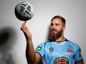JACK DE BELIN poses during the New South Wales Blues State of Origin media opportunity at Salt Beach in Kingscliff, Australia.