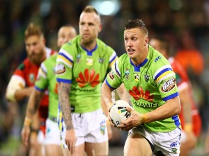 JACK WIGHTON of the Raiders runs the ball during the NRL match between the Canberra Raiders and the St George Illawarra Dragons at GIO Stadium in Canberra, Australia.
