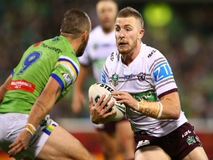 JACKSON HASTINGS of the Eagles in action during the NRL match between the Canberra Raiders and the Manly Sea Eagles at GIO Stadium in Canberra, Australia.