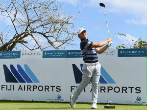JAKE MCLEOD of Australia tees off during the Fiji International Golf Tournament in Natadola, Fiji.