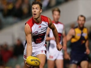 JAKE MELKSHAM of the Demons looks to pass the ball during the AFL match between the West Coast Eagles and the Melbourne Demons at Domain Stadium in Perth, Australia.
