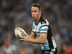 JAMES MALONEY of the Sharks runs the ball during the 2016 NRL Grand Final match between the Cronulla Sharks and the Melbourne Storm at ANZ Stadium in Sydney, Australia.