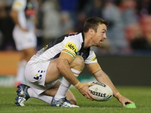 JAMES MALONEY of the Panthers lines up for a conversion during the NRL match between the Newcastle Knights and the Penrith Panthers at McDonald Jones Stadium in Newcastle, Australia.