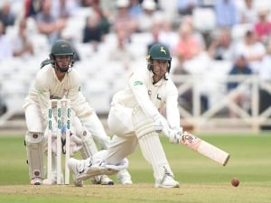 JAMES PATTINSON of Nottinghamshire batting during the Specsavers County Championship Division Two match between Nottinghamshire and Leicestershire at Trent Bridge in Nottingham, England.