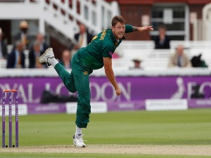 JAMES PATTINSON of Nottinghamshire bowls during the match between Nottinghamshire and Surrey at Lord's Cricket Ground in London, England.