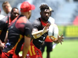 JAMES SEGEYARO catches the ball during a PNG Kumuls Rugby League World Cup captain's run in Port Moresby, Papua New Guinea.