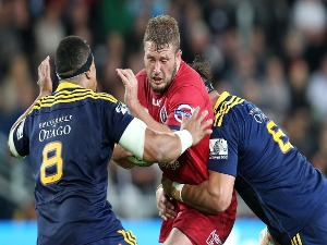 JAMES SLIPPER of the Reds on the attack during the round three Super Rugby match between the Highlanders and the Reds at Forsyth Barr Stadium in Dunedin, New Zealand.