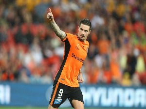 JAMIE MACLAREN of the Roar celebrates after scoring in the penalty shootout during the A-League Elimination Final match between the Brisbane Roar and the Western Sydney Wanderers at Suncorp Stadium in Brisbane, Australia.