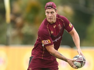 JARROD WALLACE passes during a Queensland Maroons State of Origin training session at Intercontinental Sanctuary Cove Resort in Brisbane, Australia.