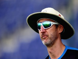 JASON GILLESPIE looks on during day three of the Champion County match between Marylebone Cricket Club and Yorkshire at Sheikh Zayed stadium in Abu Dhabi, United Arab Emirates.