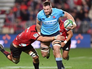 JED HOLLOWAY of the Waratahs charges forward during the Super Rugby match between the Crusaders and the Waratahs at AMI Stadium in Christchurch, New Zealand.