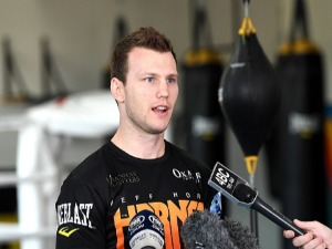 JEFF HORN speaks during a Press Conference and Training Session at Stretton Boxing Club in Brisbane, Australia.