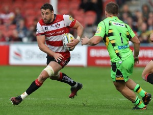 JEREMY THRUSH of Gloucester takes on Alex Waller during the Aviva Premiership match between Gloucester Rugby and Northampton Saints at Kingsholm Stadium in Gloucester, England.