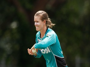 JESS JONASSEN of the Heat bowls during the Women's Big Bash League match between the Brisbane Heat and the Melbourne Renegades at Camberwell in Melbourne, Australia