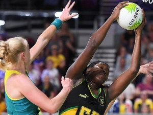 JHANIELE FOWLER-Reid of Jamaica competes during the Netball match between Australia and Jamaica of the Gold Coast 2018 Commonwealth Games at Gold Coast Convention Centre in the Gold Coast, Australia.