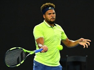 JO-WILFRIED TSONGA of France plays a forehand against Kevin King of the United States of the 2018 Australian Open at Melbourne Park in Australia.