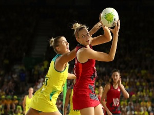 JOANNE HARTEN of England looks to pass during the Netball Gold Medal Match on day 11 of the Gold Coast 2018 Commonwealth Games at Coomera Indoor Sports Centre on the Gold Coast, Australia.