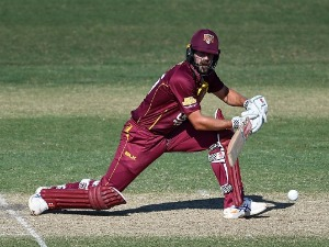 JOE BURNS of the Bulls bats during the JLT One Day Cup match between Queensland and Victoria at RS in Townsville, Australia.